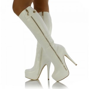 White Almond Toe Zip Platform Boots Stiletto Heel Knee High Boots