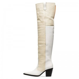 White and Beige Croc Long Boots Block Heel Knee High Boots
