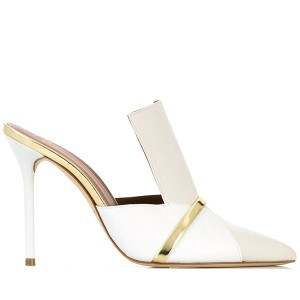 White and Beige Pointy Toe Stiletto Heels Mules for Lady