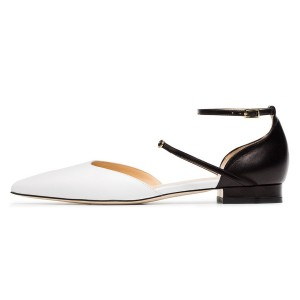 White and Black Ankle Strap Comfortable Flats Double D'orsay Pumps