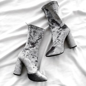 Grey Velvet Boots Closed Toe Cylindrical Heel Fashion Mid Calf Boots