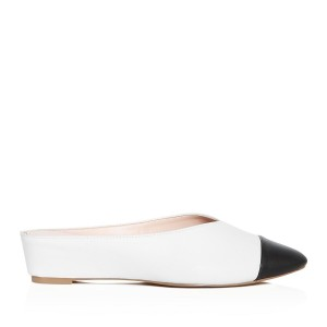 White and Black Mule Pointed Toe Wedge Heels for Women
