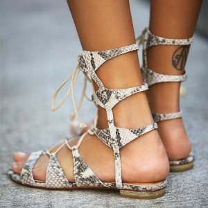 White and Black Snakeskin Gladiator Sandals Lace-up Flat Sandals