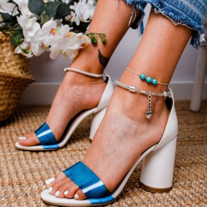 White and Blue Clear PVC Chunky Heel Sandals Ankle Strap Sandals