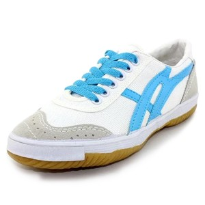 White and Blue Lace up Hui Li Sneaker
