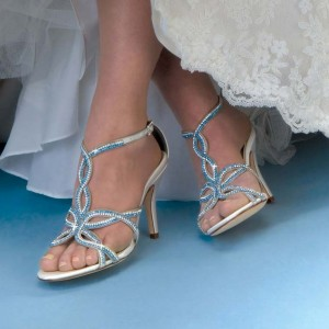 White and Blue Rhinestones Bridal Heels Stiletto Heel Sandals