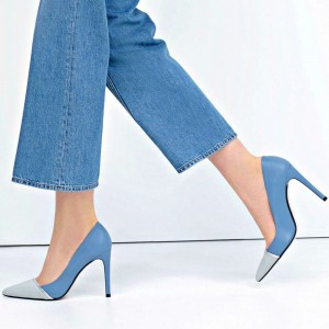 Women's Light Blue 4 Inch Heels Stiletto Heels Pointy Toe Office Heels