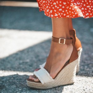 White and Brown Ankle Strap Platform Wedge Sandals