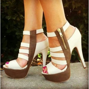 White and Brown Platform Heels Open Toe Chunky Heel Sandals Full Size