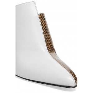 White and Brown Python Pointed Toe Cone Heels Mule