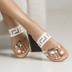 White and Gold Geometry Hollow out Open Toe Flat Women's Slide Sandals