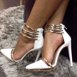 White and Gold Pointy Toe Ankle Strap Heels Fashion Strappy Pumps