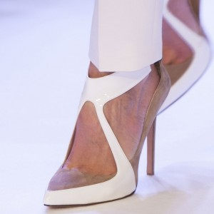 White and Khaki Pointy Toe Stiletto Heels Office Shoes for Women
