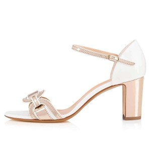 White and Champagne Chunky Heel Sandals