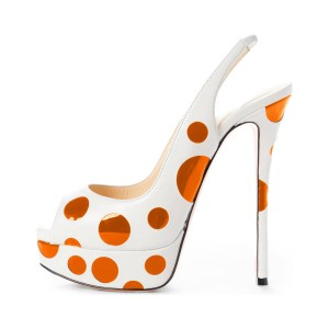 White and Orange Polka Dots Slingback Heels Peep Toe Platform Sandals