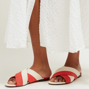 White and Orange Women's Slide Sandals
