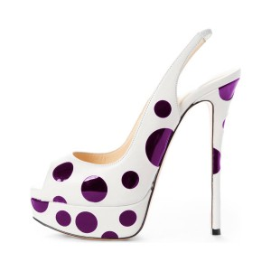 White and Purple Polka Dots Slingback Heels Peep Toe Platform Sandals