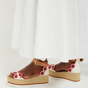 White and Red Embroidered Ankle Strap Platform Sandals