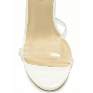 White Ankle Strap Custom Made Clear Heels