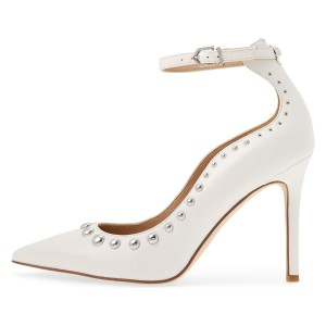 White Ankle Strap Heels Studs Pointy Toe Pumps
