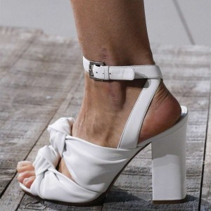 White Ankle Strap Sandals Chunky Heel Open Toe Sandals