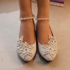 Women's White Pearl Ankle Strap Decorated Flats Bridal Shoes
