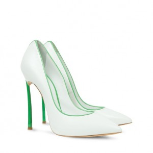 White and Green 5 Inches Stiletto Heels Pointy Toe Office Heels Pumps