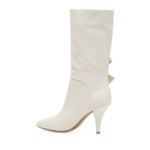 White Bow Studs Fashion Boots Round Toe Mid Calf Boots