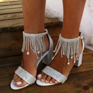 White Bridal Shoes Ankle Strap Rhinestones Chunky Heel Sandals