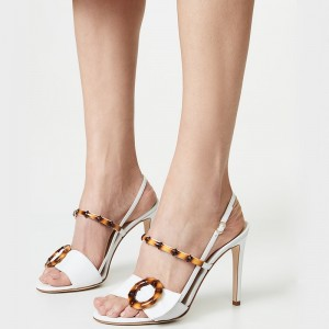 White Buckle Slingback Heels Sandals