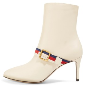 Ivory Buckle Strap Fashion Almond Toe Ankle Booties