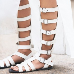 White Buckles Gladiator Sandals Flat Calf-Length Sandals