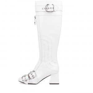 White Buckles Square Toe Block Heels Long Boots Zipper Knee High Boots