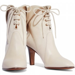 White Canvas Lace up Fashion Round Toe Ankle Booties