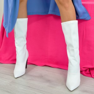 White Chunky Heel Boots Mid Calf Long Boots