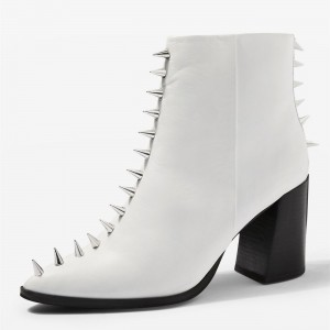 White Chunky Heel Boots with Rivets