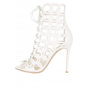 White Circle Caged Lace Up Stiletto Heel Summer Sandals