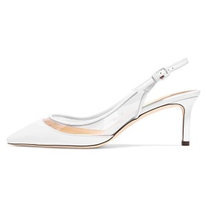 White Clear PVC Stiletto Heel Slingback Pumps
