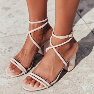 White Cross Over Ankle Strap Chunky Heel Sandals