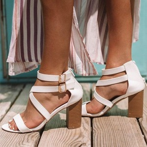 White Cross Over Chunky Heel Sandals Ankle Strap Sandals with Buckle