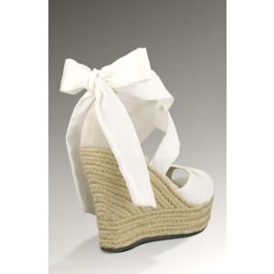 White Cross Over Bow Wedge Sandals with Platform