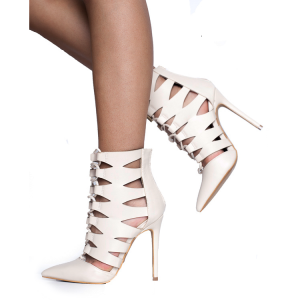 White Cut out Lace up High Heel Boots Pointy Toe Ankle Booties