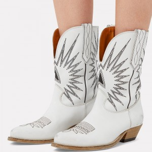 White Embroider Cowgirl Boots Block Heel Mid Calf Boots