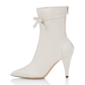Ivory Fashion Boots Pointy Toe Cone Heel Bow Mid Calf Boots