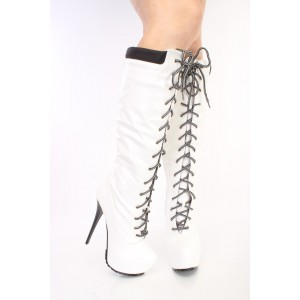 White fashion Lace Up Stiletto Heels Knee High Platform Long Boots