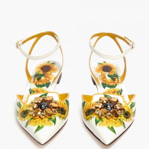 White Floral Ankle Strap Comfortable Flats