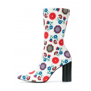 White Floral Chunky Heel Boots Mid Calf Boots