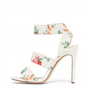 White Floral Heel Stiletto Heel Ankle Strap Sandals