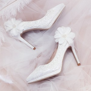 White Flower Pearl Lace Platform Stiletto Heel Bridal Shoes