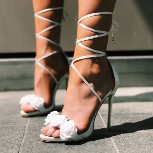 White Flowers Open Toe Stiletto Heels Strappy Sandals Wedding Shoes